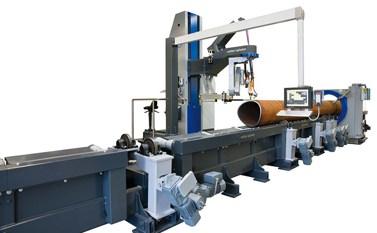 Motorized roller conveyor for pipes with a maximum diameter of 1,524 mm and a maximum weight of 15 metric tons